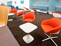 Carpet tiles customised for luxury business lounge at Canberra airport
