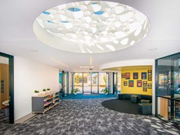 Decorative ceiling matches contemporary aesthetic at Adelaide school