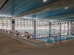 Aquatic centre uses Safetyline Jalousie louvre windows to create floor to ceiling wall