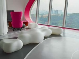 Decorative Flowcrete flooring complements luxury apartments in Penang