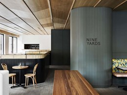 Australiana-themed cafe design features Ash Grey brick tiled floor
