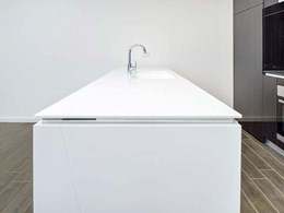Corian benchtops, basins and vanity tops add to luxe finishes at Jewel Apartments, Sydney