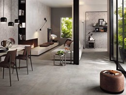 Large format concrete look porcelain tiles for floors and walls