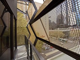 Canopy created for heritage building using square woven mesh in aluminium