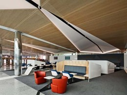 Corian provides fine detail to seating and table elements at Canberra Airport
