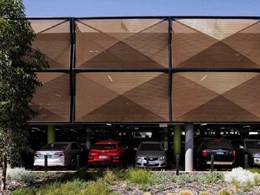 Kaynemaile architectural mesh for parking garage exteriors