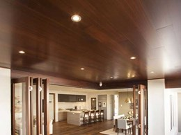 Plantation Homes Vienna display home ceiling shows off unique Western Red Cedar grain pattern