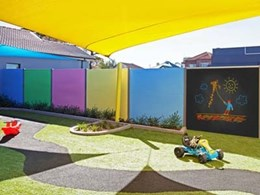Acoustic fence at childcare centre minimises traffic noise from busy road