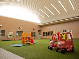 Spantech 300 Series roof covers internal courtyard at Coomera childcare centre