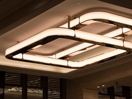 Large LED pendants welcome guests at Crown Perth