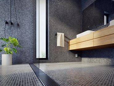 Detail of modern bathroom interior with linear shower drain