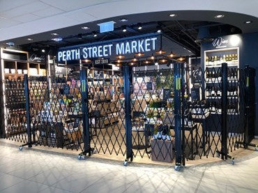 ATDC's mobile, trackless freestanding screens at Dufry duty free store, Perth airport
