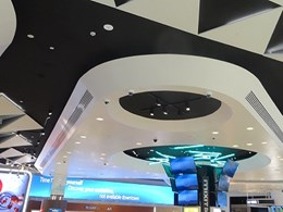 Bulkhead shapes fabricated for vibrant ceiling feature at Melbourne Airport Duty Free