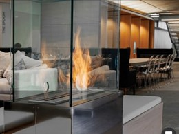 Custom EcoSmart fireplace adds extra warmth to Nu Skin office lounge and dining area