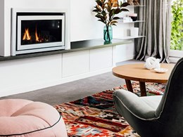 Escea DL850 fireplace central to open plan design for Rebecca Shnider's home