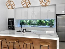 Evergreen green wall as kitchen splashback in Vic home