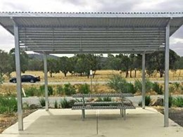 Furphy supplies shelter, picnic setting and litter receptacles at Glenrowan rest area on Hume Highway