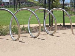 Furphy's spiral bike racks combine form and function to meet bicycle parking requirements