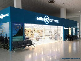 Duty free shop at New Caledonia airport secured with ATDC's folding shutters