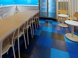 Signature Flexo rubber tiles installed at Foxtel office staff breakout area