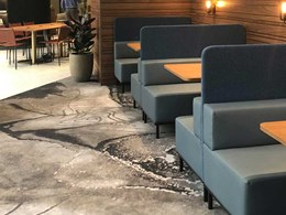 Organic rock formations inspire custom carpet design for Gateway Business Lounge
