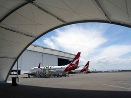Greenline tensioned membrane structures protect ground support equipment at Brisbane Airport