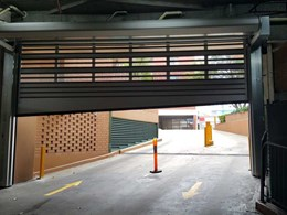 High speed door secures Sydney apartment carpark with graded entrance