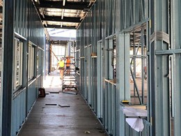 Infill wall framing fabricated for modular school building in Highton, Vic