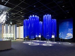 Display pods at Samsung showroom with Kaynemaile Azure Blue mesh