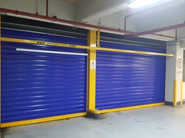 Fast action hybrid doors for space challenged carpark installations