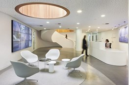 Mobius strip and figure eights link floors and workers at Brookfield Multiplex offices by Woods Bagot