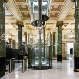 Round glass lifts help modernise 48-50 Martin Place, Sydney, Macquarie Bank's global HQ