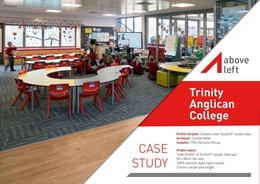 Above Left: Sustainable and innovative flooring solution for Trinity Anglican College