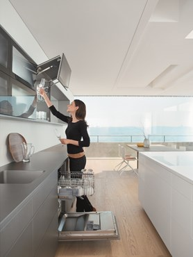 AVENTOS lift systems bring ease of motion and is the ideal solution for any wall cabinet.