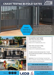 Crash-tested bi-fold gates secure premise perimeters