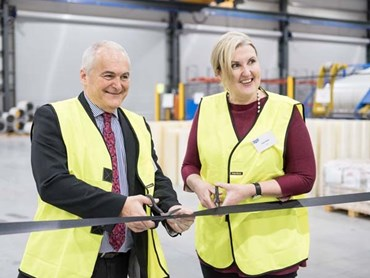 Metecno Factory Opening: RibbonCutting – Bondor / Metecno Australia Group Executive General Manager Geoff Marsdon and AIA Victorian Chapter Executive Director Ruth White cutting the ribbon to officially open the Metecno Factory
