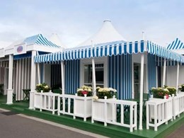Film-inspired tent-themed sponsor chalets created for Victorian Racing Club with Lisos