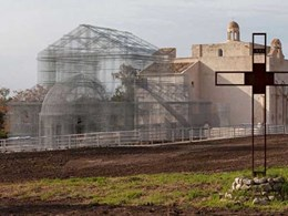 Italian sculptor Edoardo Tresoldi resurrects basilica from early Christian era with wire mesh