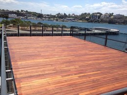 Buzon pedestals support new timber deck at Jones Bay Wharf redevelopment