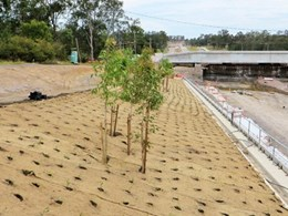 EROmasta jute mat controls erosion and evaporation along Schofields Road