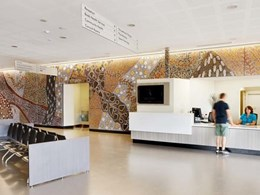 Waringarri artwork printed on VitraPanel to create 33m mural for Kununurra Ochre Health Centre