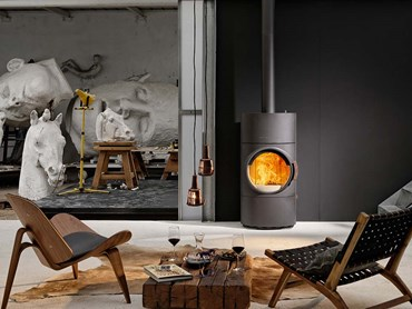 Living room interior with wood fire heater