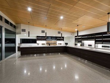 Plywood feature ceiling meets aesthetic and acoustic goals at Chrismont  Winery