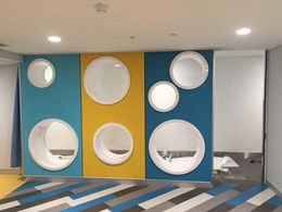 Allplastics fabricates cylinders for unique feature wall at Bateau Bay shopping centre parents' room