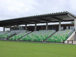 Grandstand roofing at Maitland Sports Ground features ARAMAX FreeSpan