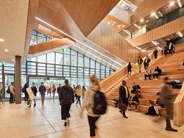 Monash university hoop pine plywood interior ceiling