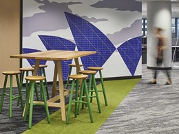 Carpet planks used for zoning in flexible working space at OpenText Sydney