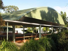 Spantech constructs multipurpose shade structure with coloured concrete slab at Ormeau State School