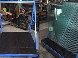Grooved polyethylene panels for safe handling of glass