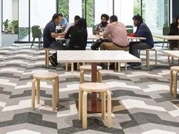 Futuristic office design features BOLON flooring in high traffic areas